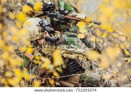 United States Army ranger during the military operation. Law and military concept