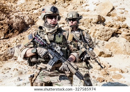 United States Army rangers in the mountains - stock photo
