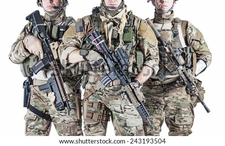 United States Army rangers with assault rifles - stock photo
