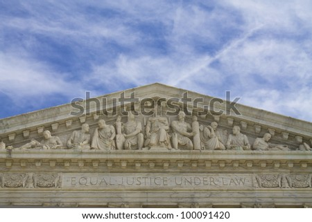 United States Building top shapes, Supreme Court Building in Washington DC - stock photo