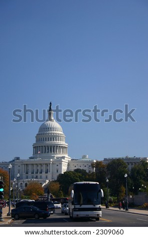 United States Capital with Tour Bus