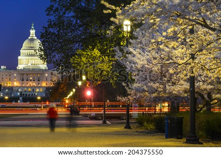 United States Capitol at night - Washington D.C. - stock photo