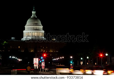 united states capitol building at night, Washington dc - stock photo