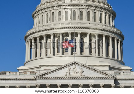 United States Capitol Building east facade dome detail - Washington DC United States - stock photo