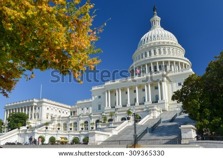 United States Capitol Building in Autumn - Washington DC, USA - stock photo