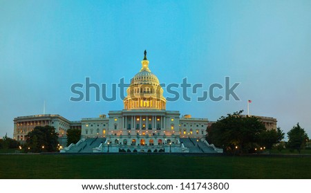 United States Capitol building in Washington, DC at night time