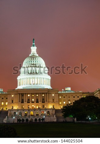 United States Capitol building in Washington, DC at sunset