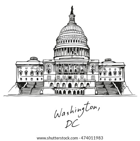 United States Capitol Building in Washington, DC, hand drawn illustration with text