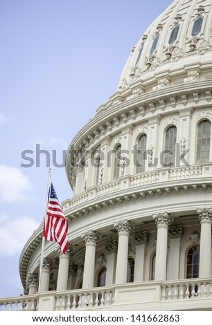 United States Capitol Building in Washington DC with American