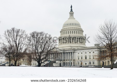 United States Capitol Building in Winter - Washington DC, United States - stock photo