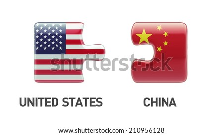 United States China High Resolution Puzzle Concept - stock photo