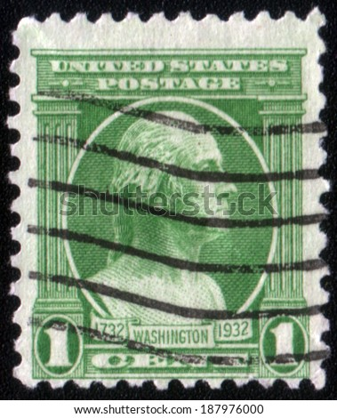 UNITED STATES - CIRCA 1932: A one cent bicentennial postage stamp published in USA showing President Washington in blue, circa 1932 - stock photo