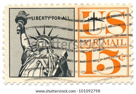UNITED STATES - CIRCA 1959: A postage stamp of the printed in the United States, shows Statue of Liberty, circa 1959 - stock photo