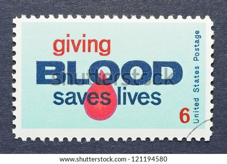 UNITED STATES - CIRCA 1971: a postage stamp printed in United States showing an image of a drop of blood to encourage blood donation, circa 1971.