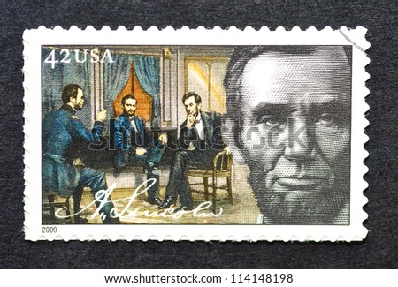 UNITED STATES - CIRCA 2009: a postage stamp printed in United States showing an image of president Abraham Lincoln, circa 2009. - stock photo