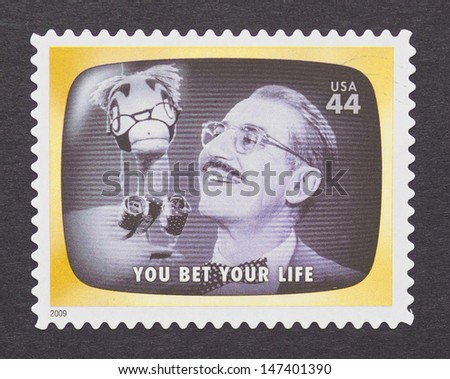 UNITED STATES - CIRCA 2012: a postage stamp printed in USA commemorative of the american television program You Bet Your Life, circa 2012.