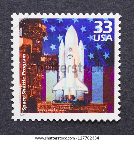 UNITED STATES - CIRCA 2000: A postage stamp printed in USA showing an image of a space shuttle ready to launch, circa 2000. - stock photo