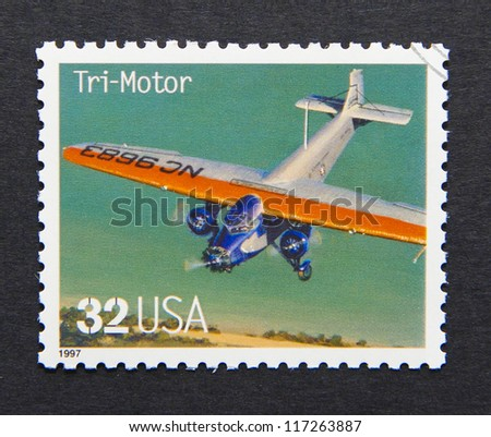 UNITED STATES - CIRCA 1997: a postage stamp printed in USA showing an image of a Tri-Motor. aircraft, circa 1997.