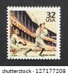 UNITED STATES -Â?Â? CIRCA 1998: A postage stamp printed in USA showing an image of Babe Ruth, circa 1998. - stock photo