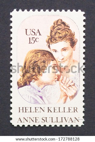 UNITED STATES - CIRCA 1980 a postage stamp printed in USA showing an image of Helen Keller and Anne Sullivan, circa 1980.  - stock photo