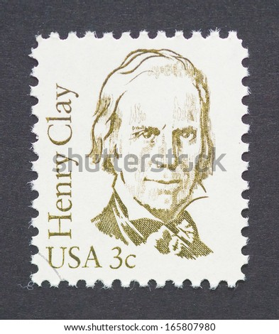 UNITED STATES - CIRCA 1983: a postage stamp printed in USA  showing an image of Henry Clay, circa 1983.