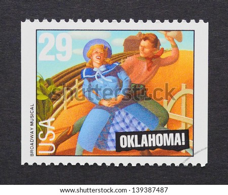 UNITED STATES - CIRCA 1993: a postage stamp printed in USA showing an image of Oklahoma musical, circa 1993.
