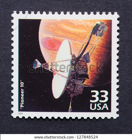 UNITED STATES - CIRCA 1999: a postage stamp printed in USA showing an image of Pioneer 10 a robotic space probe that completed the first mission to Jupiter in 1972, circa 1999. - stock photo