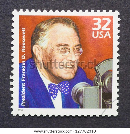 UNITED STATES - CIRCA 1998: A postage stamp printed in USA showing an image of president Franklin Delano Roosevelt, circa 1998. - stock photo