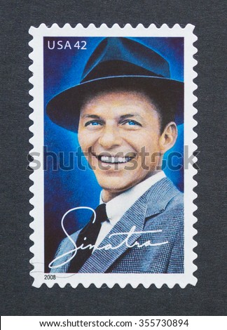UNITED STATES - CIRCA 2008: a postage stamp printed in USA showing an image of singer Frank Sinatra, circa 2008.  - stock photo