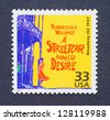 UNITED STATES � CIRCA 1999: a postage stamp printed in USA showing an image of the Broadway play A Streetcar Named Desire by Tennessee Williams, circa 1999. - stock photo