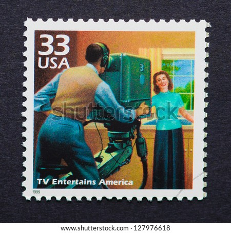UNITED STATES � CIRCA 1999: a postage stamp printed in USA showing an image of the fifties television, circa 1999.