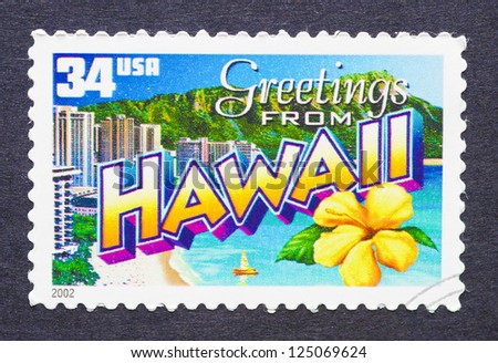UNITED STATES - CIRCA 2002: a postage stamp printed in USA showing an image of the Hawaii state, circa 2002. - stock photo