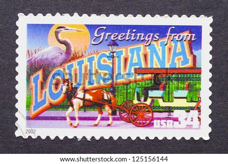 UNITED STATES - CIRCA 2002: a postage stamp printed in USA showing an image of the Louisiana state, circa 2002. - stock photo