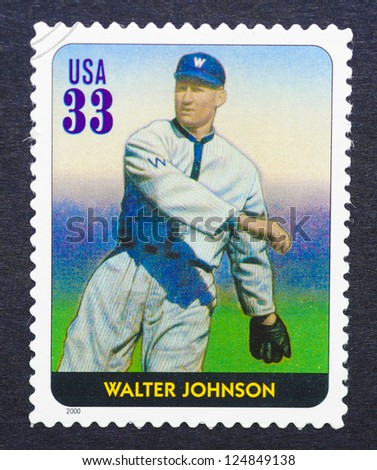 UNITED STATES - CIRCA 2000: A postage stamp printed in USA showing an image of Walter Johnson, circa 2000.