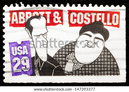 UNITED STATES - CIRCA 1991: A stamp printed by United States of America, shows Bud Abbot and Lou Castello, circa 1991