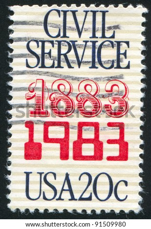 UNITED STATES - CIRCA 1983: A stamp printed by United States of America, shows emblem of civil service, circa 1983