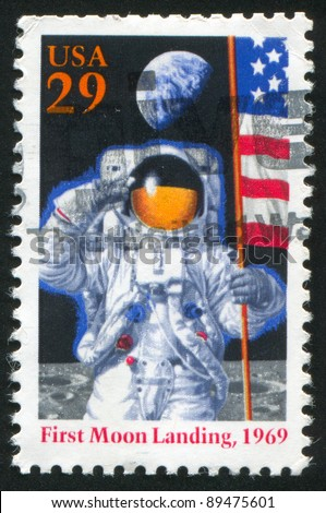 UNITED STATES - CIRCA 1994: A stamp printed by United States of America, shows first man in Moon, circa 1994