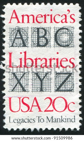 UNITED STATES - CIRCA 1982: A stamp printed by United States of America, shows letters, circa 1982