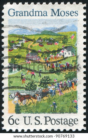 UNITED STATES - CIRCA 1969: A stamp printed by United States of America, shows the 4th of July by Grandma Moses, circa 1969