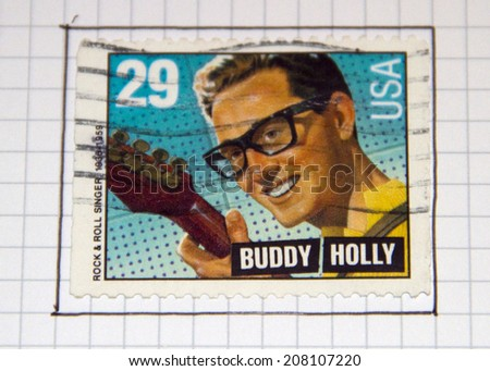 UNITED STATES - CIRCA 1993: A stamp printed by United states, shows Buddy Holly, circa 1993  - stock photo