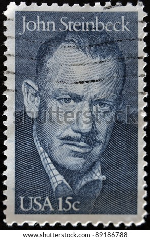 UNITED STATES - CIRCA 1979: A stamp printed by United states, shows John Steinbeck, circa 1979 - stock photo