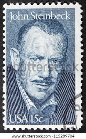 UNITED STATES - CIRCA 1979: A stamp printed by United States shows portrait of famous American writer John Steinbeck (1902-1968), circa 1979 - stock photo