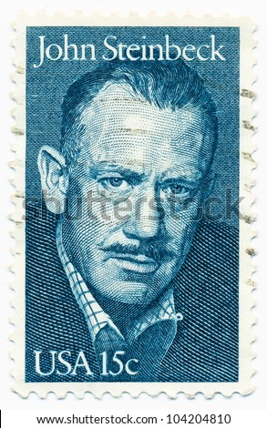 UNITED STATES - CIRCA 1979: A stamp printed by United states, shows portrait of John Steinbeck (1902-1968), circa 1979 - stock photo