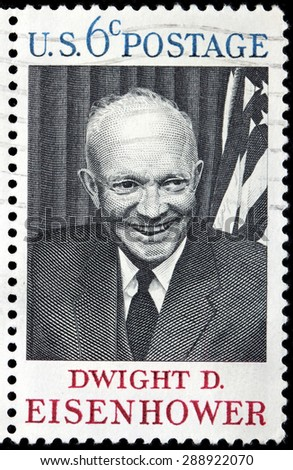 UNITED STATES - CIRCA 1969: A stamp printed by USA shows image portrait of Dwight Eisenhower - the 34th President of the United States from 1953 until 1961, circa 1969. - stock photo