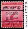 UNITED STATES - CIRCA 1940: A stamp printed in the United States shows 90-millimeter Antiaircraft Gun, circa 1940 - stock photo