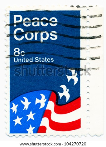 UNITED STATES - CIRCA 1971: A stamp printed in the United States, shows Peace Corps Poster, by David Battle, circa 1971 - stock photo