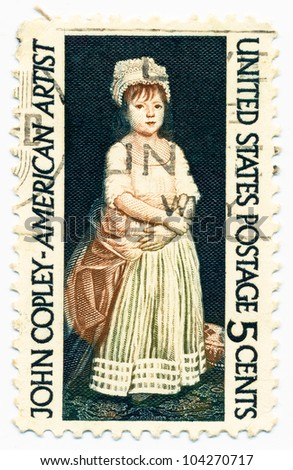 UNITED STATES - CIRCA 1965: A stamp printed in the United States, shows portrait of Elizabeth Clarke Copley, by John Singleton Copley (1738-1815), circa 1965