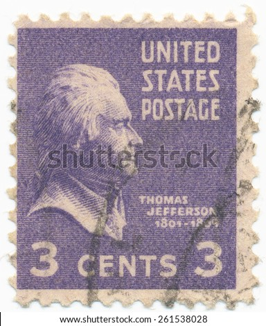 UNITED STATES - CIRCA 1937: A stamp printed in the United States, shows portrait of Thomas Jefferson (1743-1826) the third President of the United States, circa 1937 - stock photo