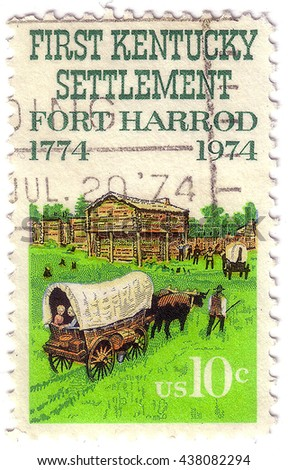 UNITED STATES - CIRCA 1974: A stamp printed in the United States, shows the Kentucky Settlement, Fort Harrod, circa 1974 - stock photo