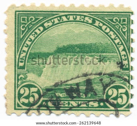 UNITED STATES - CIRCA 1931: A stamp printed in the United States, shows the Niagara Falls, circa 1931
